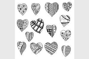 Set of hand drawn hearts
