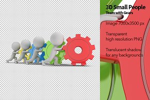 3D Small People - Team with Gears