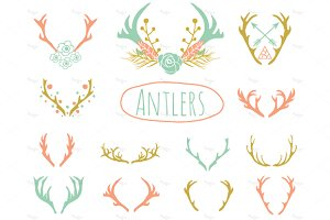 Antlers Clipart in EPS and PNG