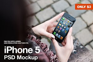 iPhone 5 in hands Mockup