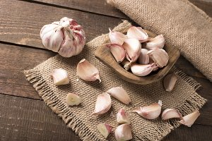 garlic on wooden table