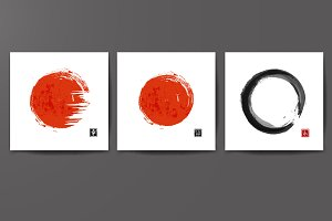 Red sun and zen circle