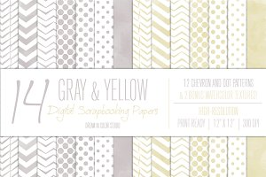 Gray & Yellow Chevron Dot Patterns