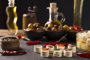 feta cheese with olives