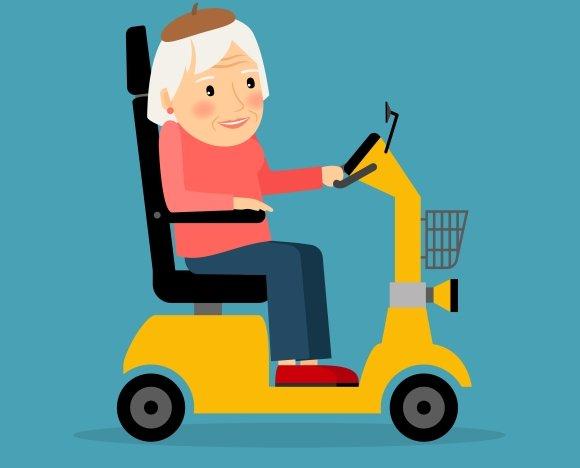 Senior woman on electric wheel