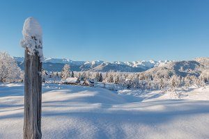 Winter fairy tale in mountains