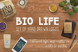 Bio life / set of hand drawn logos
