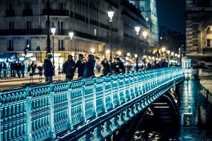 People on the Pont d'Arcole
