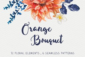 Orange Bouquet watercolor vector set