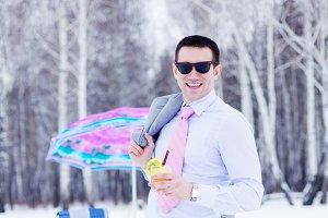 Businessman enjoying winter picnic