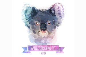 Watercolor set of animals | Coala