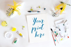 Set of 6 Mockups watercolor spring