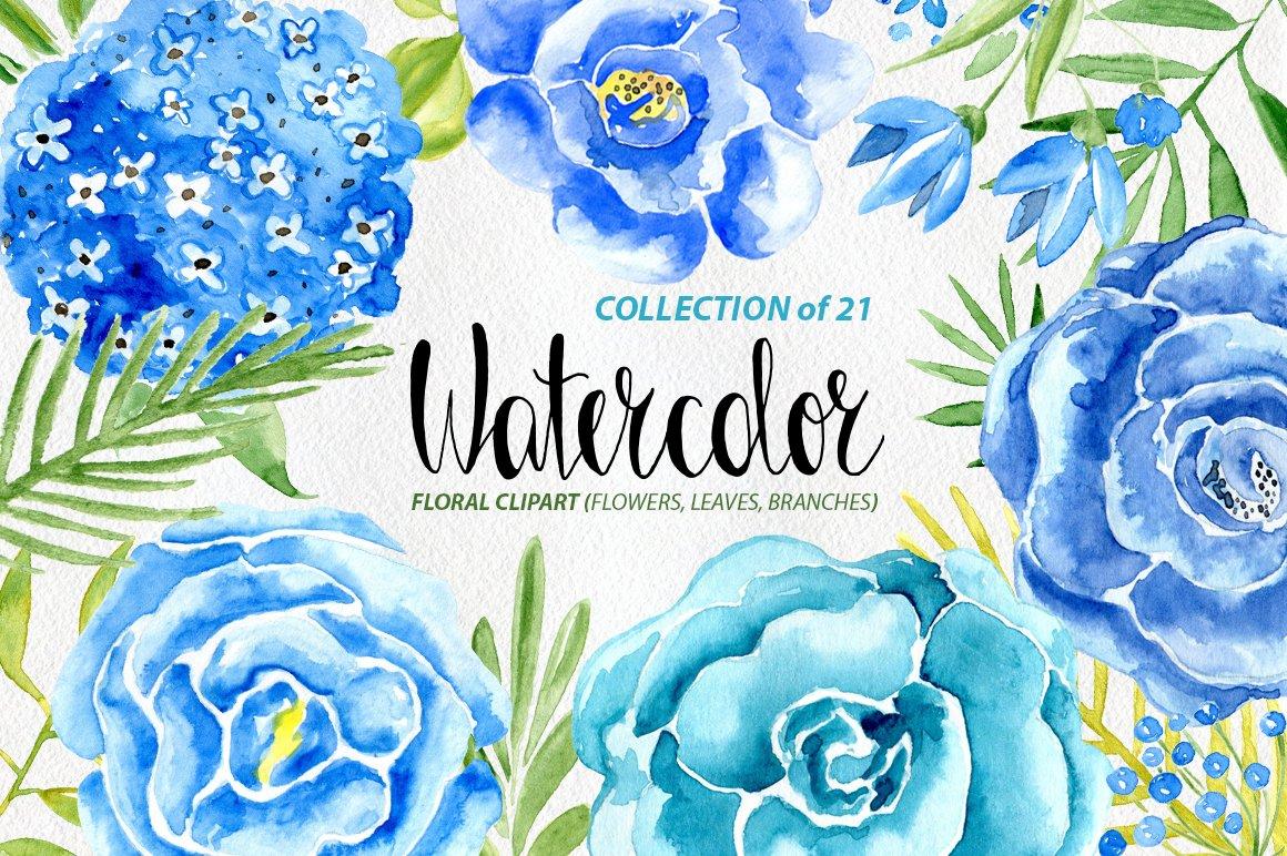 Watercolor Blue Flowers Set Graphics Creative Market