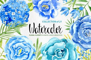 Watercolor blue flowers set