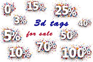 Color 3d tags for sale with percents