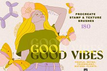 Good Vibes Procreate, Ps Stamp by  in Add-Ons