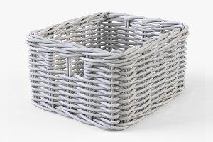 Wicker Basket Ikea Byholma 1 White