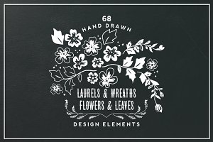 Hand Drawn Flowers & Leaves Elements