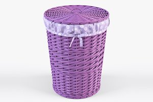 Wicker Laundry Basket 03 Purple