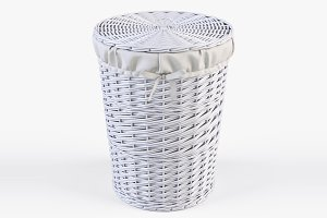 Wicker Laundry Basket 03 White