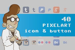 40 pixel art social media button