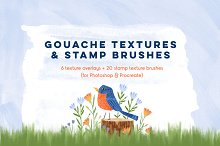 Gouache Textures + Stamp Brushes by  in Graphics