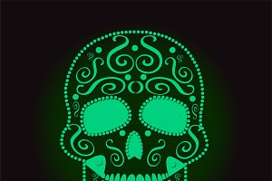 skull vector neon green color