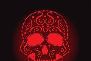 skull vector neon red