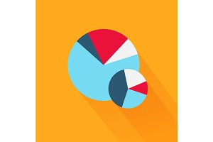 Pie Chart Flat Sign Design Concept