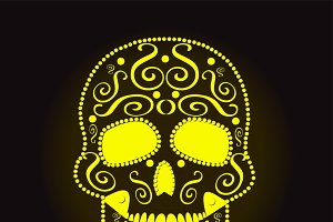 skull vector neon yellow
