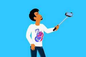 Selfie on Smartphone Using Monopod