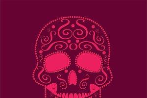 skull vector pink flat