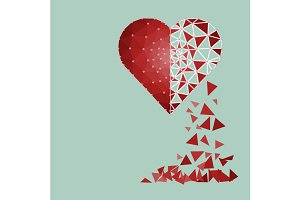 Low polygonal of red heart