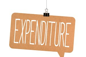 expenditure word on cardboard