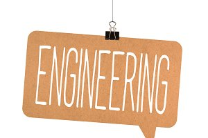 engineering word on cardboard