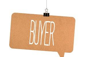 buyer word on cardboard