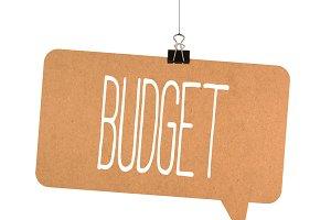 budget word on cardboard