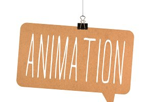 animation word on cardboard