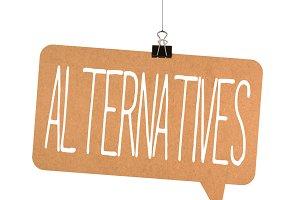 alternatives word on cardboard