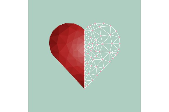 Low polygonal of red heart - Illustrations