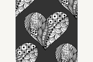 pattern of monochrome hearts