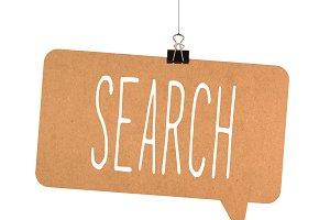 search word on cardboard