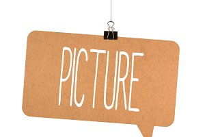 picture word on cardboard