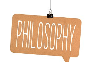philosophy word on cardboard