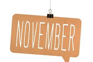 november word on cardboard