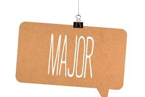 major word on cardboard