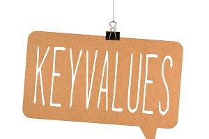 key values word on cardboard