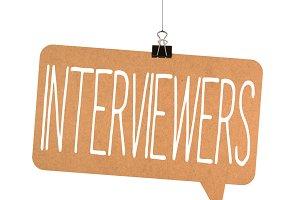 interviewers word on cardboard