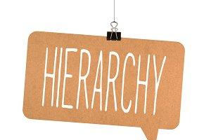 hierarchy word on cardboard