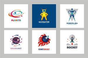 Planet, Rocket, Astronaut logo set